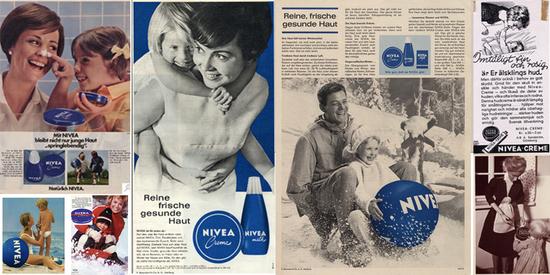 NIVEA Werbung aus verschiedenen Jahrzehnten.