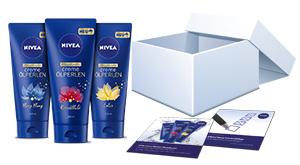 Das NIVEA Creme Ölperlen Pflegedusche Testpaket.