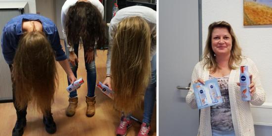 Die Botschafterinnen testeten gemeinsam NIVEA Reparatur & gezielte Pflege Shampoo und Spülung.
